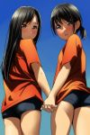 2girls :d absurdres ass bangs black_hair black_shorts blue_sky blush brown_eyes closed_mouth day eyebrows_visible_through_hair fingernails hair_between_eyes highres holding_hands interlocked_fingers light_frown long_hair looking_at_viewer looking_back low_ponytail matsunaga_kouyou multiple_girls nose_blush open_mouth orange_shirt original outdoors ponytail round_teeth shirt short_shorts short_sleeves shorts sky smile standing teeth upper_teeth
