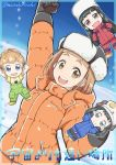 4girls arms_up black_gloves black_hair brown_hair chibi coat fist_pump fur_hat gloves hat kobuchizawa_shirase light_brown_hair long_hair miyake_hinata multiple_girls mutsuki_riichi overalls shiraishi_yuzuki short_hair smile snow sora_yori_mo_tooi_basho tamaki_mari twitter_username ushanka winter_clothes winter_coat