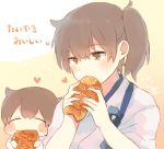 2girls bangs blush brown_eyes brown_hair chibi closed_eyes dual_persona eating eyebrows_visible_through_hair fingernails food heart holding holding_food ina_(1813576) japanese_clothes kaga_(kantai_collection) kantai_collection multiple_girls ponytail side_ponytail signature simple_background smile taiyaki tasuki translated upper_body wagashi