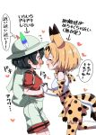 2girls :d ^_^ animal_ears backpack bag bare_shoulders black_hair blonde_hair blush closed_eyes commentary_request ear_blush elbow_gloves extra_ears face-to-face flustered flying_sweatdrops gloves happy hat hat_feather heart highres holding_hands interlocked_fingers kaban_(kemono_friends) kemono_friends multiple_girls nekonyan_(inaba31415) nose_blush open_mouth print_gloves print_legwear print_neckwear print_skirt profile red_shirt serval_(kemono_friends) serval_ears serval_print serval_tail shirt short_hair short_sleeves shorts simple_background sketch skirt sleeveless sleeveless_shirt smile tail thigh-highs translated wavy_mouth white_background white_shirt white_shorts yuri