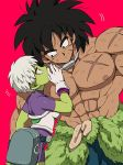 1boy 1girl :o abs arm_at_side armor belt black_eyes black_hair bodysuit breasts broly_(dragon_ball_super) cheelai chest_scar clothes_around_waist covering covering_mouth cowboy_shot dark_skin dark_skinned_male dirty dirty_clothes dirty_face dragon_ball dragon_ball_super_broly expressionless eyelashes fanny_pack gloves green_skin hand_up jewelry leaning leaning_to_the_side looking_to_the_side medium_breasts muscle necklace nipples outsuki parted_lips pink_background profile purple_bodysuit scar shirtless short_hair sideboob simple_background spiky_hair standing violet_eyes whispering white_gloves white_hair