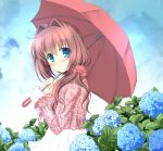 absurdres asakura_otome bangs blue_eyes blush brown_hair closed_mouth clouds cloudy_sky commentary_request da_capo da_capo_ii eyebrows_visible_through_hair flower hair_between_eyes hair_ornament hair_over_shoulder highres holding holding_umbrella hydrangea kayura_yuka long_sleeves looking_at_viewer looking_to_the_side outdoors rain skirt sky smile umbrella white_skirt