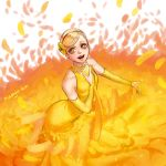1girl :d akagi_mako artist_name ballroom_e_youkoso blonde_hair breasts bridal_gauntlets dress earrings flower glint hair_flower hair_ornament hairband hand_up jewelry looking_at_viewer manya-kun necklace open_mouth short_hair sleeveless sleeveless_dress small_breasts smile solo standing yellow_dress yellow_eyes