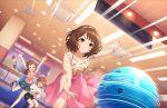 blush brown_eyes brown_hair dress idolmaster_cinderella_girls_starlight_stage nagatomi_hasumi short_hair smile