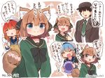 1boy 3girls admiral_(kantai_collection) alternate_costume bangs blue_neckwear blue_sailor_collar blue_skirt bob_cut braid collar commentary_request detached_sleeves etorofu_(kantai_collection) gradient_hair green_hair hachijou_(kantai_collection) hair_between_eyes hair_flaps hair_ornament hair_ribbon hat highres kantai_collection long_hair long_sleeves multicolored_hair multiple_girls orange_hair parted_bangs purple_hair redhead ribbon sado_(kantai_collection) sailor_collar sailor_hat school_uniform serafuku shaded_face short_hair side_braid sidelocks skirt standing suzuki_toto tied_hair translation_request twin_braids white_headwear