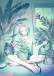 1girl artist_name bangs bow collarbone dated frown green_theme hair_bow indian_style indoors nail_polish original pale_skin parted_bangs plant potted_plant red_eyes sandal_removed sandals short_hair shorts sitting solo window yamakawa