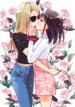 2girls alternate_hairstyle black_hair blonde_hair blush closed_eyes flower hand_on_another's_cheek hand_on_another's_face hug kiss looking_at_another minami_shizuku multiple_girls noda_kotone rose sakura_trick sunglasses tachi_(gutsutoma) yuri