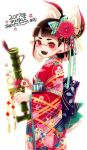 1girl 2017 akeome bamboozler_14_(splatoon) bangs black_hair blunt_bangs commentary domino_mask earrings fangs floral_print from_side furisode hair_ornament hair_up happy_new_year highres holding holding_weapon inkling japanese_clothes jewelry kimono light_blush logo mask mimimi_(echonolog) new_year obi pointy_ears print_kimono red_eyes red_kimono sash simple_background solo splatoon_(series) splatoon_2 translated weapon white_background wide_sleeves