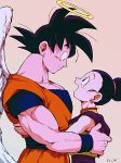 1boy 1girl :d angel_wings bare_arms bare_shoulders beige_background black_eyes black_hair chi-chi_(dragon_ball) china_dress chinese_clothes couple crying crying_with_eyes_open dougi dragon_ball dragon_ball_z dress earrings eye_contact eyelashes fingernails hair_bun halo hands_on_another's_back happy_tears hetero hug jewelry looking_at_another looking_up open_mouth outsuki pink_background profile simple_background sleeveless sleeveless_dress smile son_gokuu spiky_hair standing tears tied_hair twitter_username upper_body wings wristband