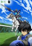 1boy black_hair blue_sky brown_hair glowing glowing_eyes green_eyes gundam gundam_00 gundam_exia hair_between_eyes headwear_removed helmet helmet_removed horse horseback_riding japan_racing_association looking_at_viewer mecha motion_blur pilot_suit riding setsuna_f_seiei short_hair sky sword weapon