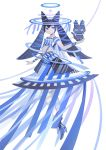 1girl appi523 black_cat black_hair blue_eyes blue_footwear blue_theme cat flat_chest halo high_heels holding holding_cat long_hair looking_at_viewer original short_sleeves solo twintails white_background