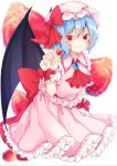 1girl :p arm_up bangs bat_wings blue_hair brooch cravat eyebrows_visible_through_hair food frilled_shirt_collar frilled_skirt frills fruit fruit_background hair_between_eyes hat highres holding holding_food holding_fruit jewelry looking_at_viewer mob_cap petticoat pink_headwear pink_shirt pink_skirt red_eyes red_neckwear remilia_scarlet shirt short_hair sitting skirt skirt_set smile solanikieru solo strawberry tongue tongue_out touhou wariza white_background wings wrist_cuffs