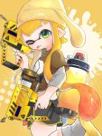 1girl ;p animal_ears beanie black_shorts blonde_hair brown_shirt commentary dual_wielding fake_animal_ears from_side glooga_dualies_(splatoon) gomamiso gradient_hair green_eyes grey_legwear gym_shorts hat highres holding holding_weapon ink_tank_(splatoon) leg_up logo long_hair long_sleeves looking_at_viewer multicolored_hair octoling one_eye_closed orange_hair paint_splatter pompompurin print_shirt sandals shirt short_over_long_sleeves short_shorts short_sleeves shorts socks solo splatoon_(series) splatoon_2 standing standing_on_one_leg t-shirt tentacle_hair tongue tongue_out trigger_discipline very_long_hair weapon yellow_background yellow_footwear yellow_headwear yellow_theme