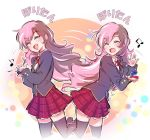 1girl alternate_costume beamed_eighth_notes black_legwear blazer blush brown_hair castanets closed_eyes commentary cropped_legs eighth_note highres iesupa instrument jacket k-on! long_hair long_sleeves motion_lines multicolored_hair music musical_note neck_ribbon neo_(rwby) open_mouth parody petticoat pink_hair plaid plaid_skirt playing_instrument polka_dot polka_dot_background red_neckwear ribbon rwby school_uniform shirt skirt smile solo standing standing_on_one_leg tagme thigh-highs translation_request un_tan very_long_hair white_shirt zettai_ryouiki