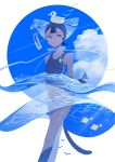 1girl appi523 bare_shoulders black_hair blue_sky bubble circle clouds cloudy_sky feet_out_of_frame liquid one-piece_swimsuit original short_hair sky solo swim_cap swimsuit water
