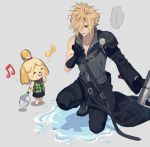 ... 1boy 1girl ^_^ belt blonde_hair blue_eyes bucket buster_sword closed_eyes cloud_strife crossover doubutsu_no_mori final_fantasy final_fantasy_vii gloves holding holding_sword holding_weapon humiyooo kneeling musical_note shizue_(doubutsu_no_mori) simple_background spoken_ellipsis sword weapon wet wet_clothes wet_hair