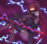1girl ankle_boots bangs blush bodysuit boots breasts commentary_request covered_nipples electricity eyebrows_visible_through_hair face_mask fate/grand_order fate_(series) from_side gae_bolg hairband high_heel_boots high_heels holding holding_weapon knees_up large_breasts long_hair looking_at_viewer looking_to_the_side mask pauldrons pink_eyes polearm purple_background purple_bodysuit purple_footwear purple_hair scathach_(fate)_(all) scathach_(fate/grand_order) shoe-ji shoulder_armor sitting solo spear very_long_hair weapon
