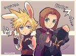 2boys animal_ears blonde_hair blue_eyes brown_hair bunnysuit cloud_strife company_connection crossover dragon_quest dragon_quest_xi earrings final_fantasy final_fantasy_vii gloves hero_(dq11) highres jewelry kiriya_(552260) male_focus multiple_boys rabbit_ears spiky_hair square_enix super_smash_bros. translated