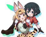 2girls :d animal_ear_fluff animal_ears black_gloves black_hair black_legwear blonde_hair blue_eyes blush bow bowtie brown_footwear carrying commentary_request elbow_gloves gloves highres kaban_(kemono_friends) kemono_friends legwear_under_shorts looking_at_viewer multiple_girls nekonyan_(inaba31415) open_mouth pantyhose princess_carry print_gloves print_neckwear print_skirt red_shirt serval_(kemono_friends) serval_ears serval_print serval_tail shirt shoes short_hair short_sleeves shorts simple_background skirt smile tail white_background white_shorts yellow_eyes