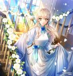 1girl blonde_hair blue_flower blue_ribbon blue_sky breasts commentary_request dress flower green_eyes hair_ribbon holding holding_dress interitio looking_at_viewer medium_breasts official_art petals ribbed_dress ribbon sid_story sky smile stairs sunlight twitter_username white_dress white_flower window