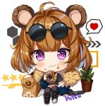 1girl :t animal_ears antenna_hair bangs bear_ears black-framed_eyewear black_footwear black_shirt black_shorts blue_jacket boots brown_hair brown_legwear chibi closed_mouth commentary crop_top doughnut eating eyebrows_visible_through_hair eyewear_on_head food food_on_face full_body girls_frontline grizzly_mkv grizzly_mkv_(girls_frontline) gun hair_between_eyes handgun heart hitsukuya holding holding_food jacket knee_boots knees_up long_sleeves looking_at_viewer object_namesake off_shoulder open_clothes open_jacket pistol shirt short_shorts short_sleeves shorts signature sitting solo spoken_heart star sunglasses symbol_commentary thigh-highs v-shaped_eyebrows violet_eyes wavy_mouth weapon white_background