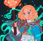 1girl artist_name blonde_hair blue_eyes blush braid cape fingerless_gloves gloves hair_ornament hairclip holding holding_torch looking_at_viewer meyoco parted_lips pointy_ears princess_zelda short_hair solo sparkle the_legend_of_zelda the_legend_of_zelda:_breath_of_the_wild_2 thick_eyebrows torch upper_body