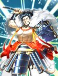 1boy abs armlet armor black_hair blue_gloves cape clouds gloves highres japanese_armor katana looking_at_viewer male_focus mizuno_katsunari muscle nipples outstretched_hand sangokushi_taisen saumaro sheath sideburns solo standing sword weapon