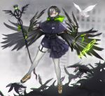 1girl asymmetrical_clothes bangs belt bird black_hair blurry blurry_background claws earrings green_eyes hair_ornament hair_over_one_eye hairclip high_collar hood hood_down jewelry kasagarasu legs_apart looking_at_viewer low_wings original pantyhose short_hair skirt solo staff standing white_legwear wings