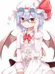 1girl arm_ribbon bangs bat_wings bespectacled between_legs black_legwear blouse blue_hair bow bowtie commentary_request embellished_costume eyebrows_visible_through_hair fang frilled_blouse glasses hair_between_eyes hand_between_legs hand_on_eyewear hat hat_ribbon highres iyo_(ya_na_kanji) long_sleeves looking_at_viewer mob_cap pantyhose parted_bangs red_bow red_eyes red_neckwear red_ribbon remilia_scarlet ribbon semi-rimless_eyewear short_hair simple_background sitting skirt skirt_set slit_pupils smile solo sparkle symbol_commentary touhou under-rim_eyewear wariza white_background white_blouse white_headwear white_skirt wings
