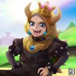 1girl :3 black_collar blonde_hair bowsette bracelet collar crown earrings eyebrows fangs highres hijab jamrolypoly jewelry looking_at_viewer mario_(series) new_super_mario_bros._u_deluxe open_mouth smile solo spiked_armlet spiked_bracelet spiked_collar spiked_shell spikes super_crown turtle_shell