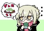 ... 1girl artoria_pendragon_(all) bangs black-framed_eyewear black_jacket blush_stickers braid brown_eyes chibi closed_mouth commentary_request cup eyebrows_visible_through_hair fate/grand_order fate_(series) food glasses green_background hair_between_eyes holding holding_cup hood hood_down hooded_jacket jacket kasuga_yuuki light_brown_hair long_sleeves looking_away looking_to_the_side mysterious_heroine_x_(alter) plaid plaid_scarf red_scarf scarf solo thought_bubble translation_request tray two-tone_background upper_body white_background yunomi