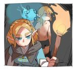 1boy 1girl blonde_hair blue_eyes bomb boxers chillarism cloak fire glowing hair_ornament hairclip holding_bomb holding_torch link low_ponytail pointy_ears princess_zelda the_legend_of_zelda the_legend_of_zelda:_breath_of_the_wild_2 torch underwear
