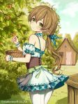 1girl bangs bare_shoulders basket blue_sky blush breasts brown_hair character_request closed_mouth clouds cloudy_sky commentary_request day detached_sleeves door dress eyebrows_visible_through_hair green_dress green_eyes green_ribbon green_sleeves hair_between_eyes hair_ribbon head_tilt house long_hair looking_at_viewer looking_back low_ponytail outdoors pantyhose plaid plaid_dress plaid_ribbon ponytail puffy_short_sleeves puffy_sleeves ribbon short_sleeves sky sleeveless sleeveless_dress small_breasts smile solo standing teikoku_senki very_long_hair watermark white_legwear window wrist_cuffs yuuki_rika