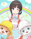 >_< 1girl 2others :d ;d adorable animal apron beamed_sixteenth_notes black_hair blue_apron blue_bow blue_eyes blue_scrunchie blush bow cat closed_eyes closed_mouth clothed_animal clouds collared_shirt commentary_request ddak5843 dress_shirt eighth_note frilled_apron frilled_shirt frills girl grey_eyes hair_bun hair_ornament hair_scrunchie hat head_tilt human looking_at_viewer mole mole_on_neck musical_note nijisanji one_eye_closed open_mouth polka_dot polka_dot_apron polka_dot_bow polka_dot_scrunchie rainbow school_hat scrunchie shirt smile solo suzuka_utako virtual_youtuber white_bow white_headwear white_shirt xd yellow_bow yellow_headwear