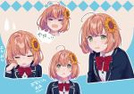 >_< 1girl ahoge bangs beige_background blazer blue_background bow bowtie brown_hair buttons collared_shirt commentary crying expressions face flower green_eyes hair_flower hair_ornament hairclip hand_on_own_face hand_up highres honma_himawari jacket looking_at_viewer multiple_views nana_(nana_yume87) nijisanji red_neckwear school_uniform shaded_face shirt sunflower sweatdrop tears upper_body white_shirt