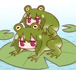2girls animal animalization bangs blush eyebrows_visible_through_hair frog frog_eyes frog_girl girl_on_top green_hair hair_between_eyes highres kemomimi-chan_(naga_u) lily_pad long_hair looking_at_viewer multiple_girls naga_u original red_eyes sidelocks v-shaped_eyebrows water