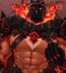 1boy abs bara belt black_gloves brown_background chest_hair embers fire gauntlets gloves glowing glowing_eyes helmet highres hita looking_at_viewer male_focus muscle nipples pauldrons pectorals red_eyes shoulder_spikes simple_background solo spikes surtr_(tokyo_houkago_summoners) tokyo_houkago_summoners twitter_username upper_body veins