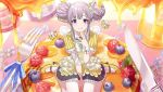 blush grey_hair idolmaster idolmaster_shiny_colors long_hair sweets twintails violet_eyes yukoku_kiriko