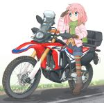 1girl aqua_eyes boots graphite_(medium) ground_vehicle highres honda kagamihara_nadeshiko long_hair mechanical_pencil mikeran_(mikelan) motor_vehicle motorcycle pencil pink_hair thigh-highs thigh_boots traditional_media yurucamp