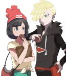 1boy 1girl anime_coloring arm_on_shoulder bag beanie black_eyes black_hair blonde_hair collarbone cowboy_shot eating eye_contact food gladio_(pokemon) green_eyes hand_on_hip handbag hat light_smile looking_at_another malasada midriff mizuki_(pokemon) paper_bag pokemon pokemon_(game) pokemon_sm pouch rem_sora410 shirt short_hair simple_background tied_shirt white_background