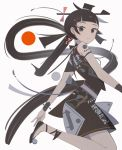 1girl appi bangs black_eyes black_footwear black_hair blunt_bangs expressionless from_side legs_up long_hair looking_at_viewer original ponytail red_circle shoes sleeveless solo very_long_hair