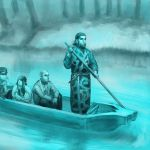 1boy 3boys ainu_clothes asirpa black_hair black_pants blue_theme boat dagger facial_hair facial_scar fur_scarf golden_kamuy kiroranke long_hair manya-kun multiple_boys oar outdoors pants scar shadow shiraishi_yoshitake sideburns sitting standing sugimoto_saichi water watercraft weapon