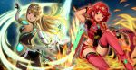 2girls armor ass back bangs bare_shoulders blonde_hair boots breasts commentary_request covered_navel dress earrings elbow_gloves eyebrows_visible_through_hair fingerless_gloves fire gem gloves glowing hair_ornament headpiece highres hikari_(xenoblade_2) holding holding_sword holding_weapon homura_(xenoblade_2) jewelry large_breasts long_hair looking_at_viewer looking_back multiple_girls night panties pantyhose pantyshot pose red_eyes red_shorts redhead short_hair short_shorts shorts shoulder_armor sky sssemiii star star_(sky) starry_sky super_smash_bros. swept_bangs sword thigh-highs tiara underwear very_long_hair weapon white_dress xenoblade_(series) xenoblade_2 yellow_eyes