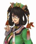 1girl black-framed_eyewear black_hair chinese_clothes glasses hair_rings kthovhinao_virmi looking_at_viewer mole mole_under_mouth samurai_spirits solo tassel updo wu-ruixiang