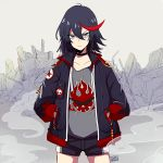 1girl black_hair blue_eyes bomber_jacket casual commentary creator_connection epaulettes flame_print frown gurepyon hair_between_eyes hands_in_pockets jacket kill_la_kill matoi_ryuuko multicolored_hair open_clothes open_jacket redhead shorts signature solo standing streaked_hair tengen_toppa_gurren_lagann