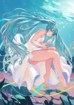 1girl absurdres aqua_eyes aqua_hair bare_legs bare_shoulders barefoot coral dress eyebrows_visible_through_hair fish floating floating_hair hair_between_eyes hatsune_miku highres invisible_chair leaning_forward long_hair looking_at_viewer nekoma0116 shiny shiny_hair sitting sleeveless sleeveless_dress solo thighs toes twintails underwater very_long_hair vocaloid white_dress