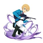 1boy :d belt black_belt black_footwear blonde_hair blue_gloves blue_jacket boots eugeo gloves green_eyes gun hair_between_eyes highres holding holding_gun holding_weapon jacket long_sleeves looking_at_viewer male_focus military_jacket necktie official_alternate_costume official_art one_knee open_mouth pants red_neckwear rifle smile solo sword_art_online transparent_background weapon white_pants wing_collar