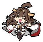 1girl =_= ahoge boots brown_hair chibi closed_eyes commentary_request detached_sleeves double_bun full_body hairband headgear kantai_collection kongou_(kantai_collection) koopo long_hair lowres machinery open_mouth remodel_(kantai_collection) ribbon-trimmed_sleeves ribbon_trim simple_background solo thigh-highs thigh_boots white_background