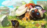1girl absurdres animal blue_eyes blue_sky braid brown_hair bubble cat clouds cloudy_sky dress fence field floating_island flower flower_field flower_wreath giant_cat hat highres holding holding_flower jewelry kian mushroom orange_dress original siamese_cat sitting sky sleeping stone tree_stump twin_braids