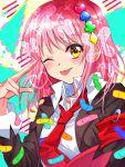 1girl bandaid highres hinamori_amu necktie one_eye_closed pink_hair shugo_chara! solo tongue yellow_eyes